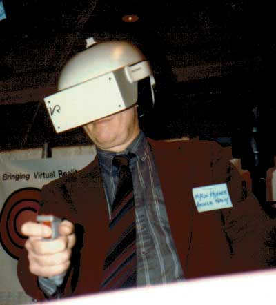 Myron Kruger Takes a Spin in the Flight Helmet