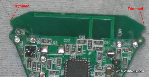 "Notice the ""F"" shaped PCB trace at the top. That's the 2.4 ghz antenna. Don't cut it away."