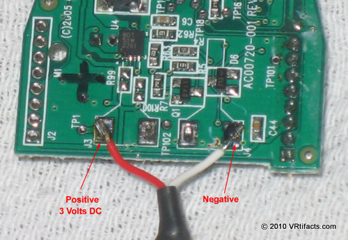 Detail of the power connections. 3 to 4 volts DC will work. I mark the positive side on the PCB with a felt tip pen.